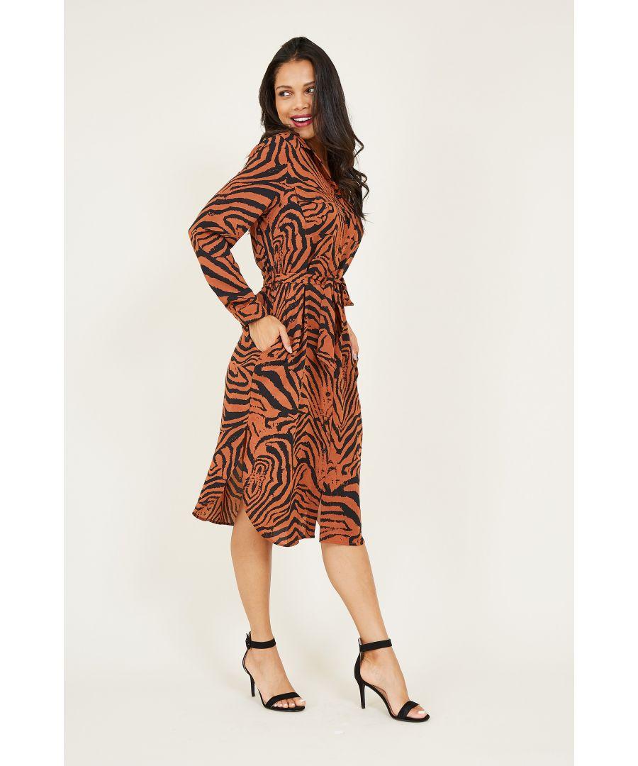 Image for Animal Print Belted Shirt Dress