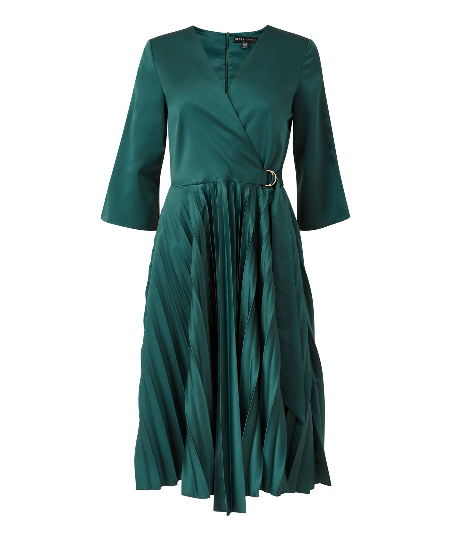 Image for Yumi Wrap Front Pleated Skirt Midi Dresss