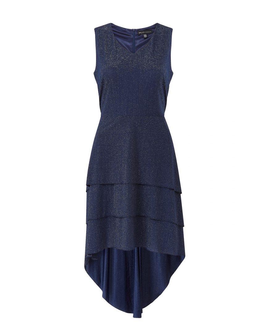 Image for Yumi Triple Ruffle High Low Shimmer Dresss