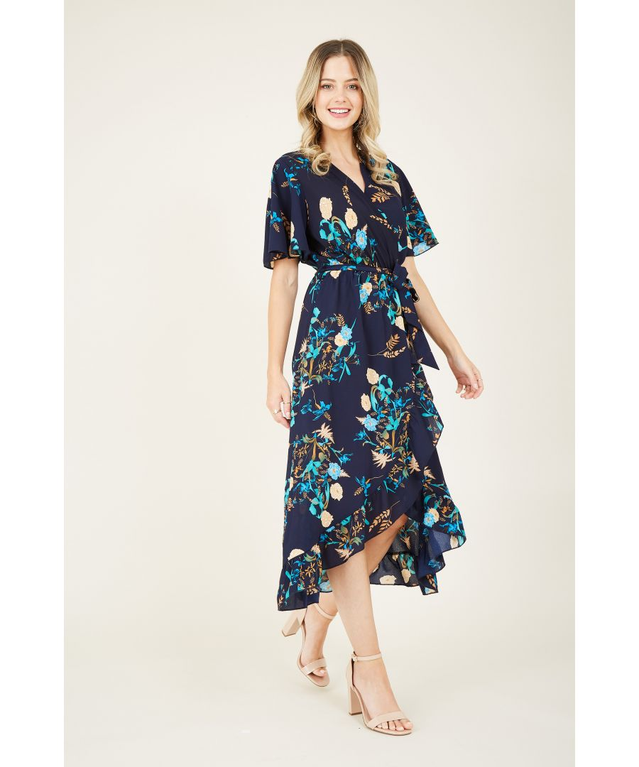 Image for Floral Printed Midi Wrap Dress