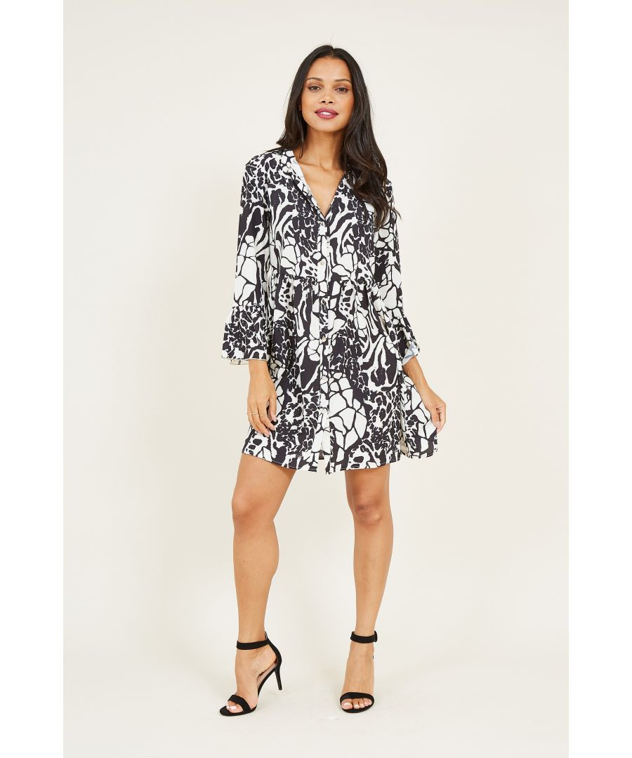 Image for Monochrome Printed Shirt Dress