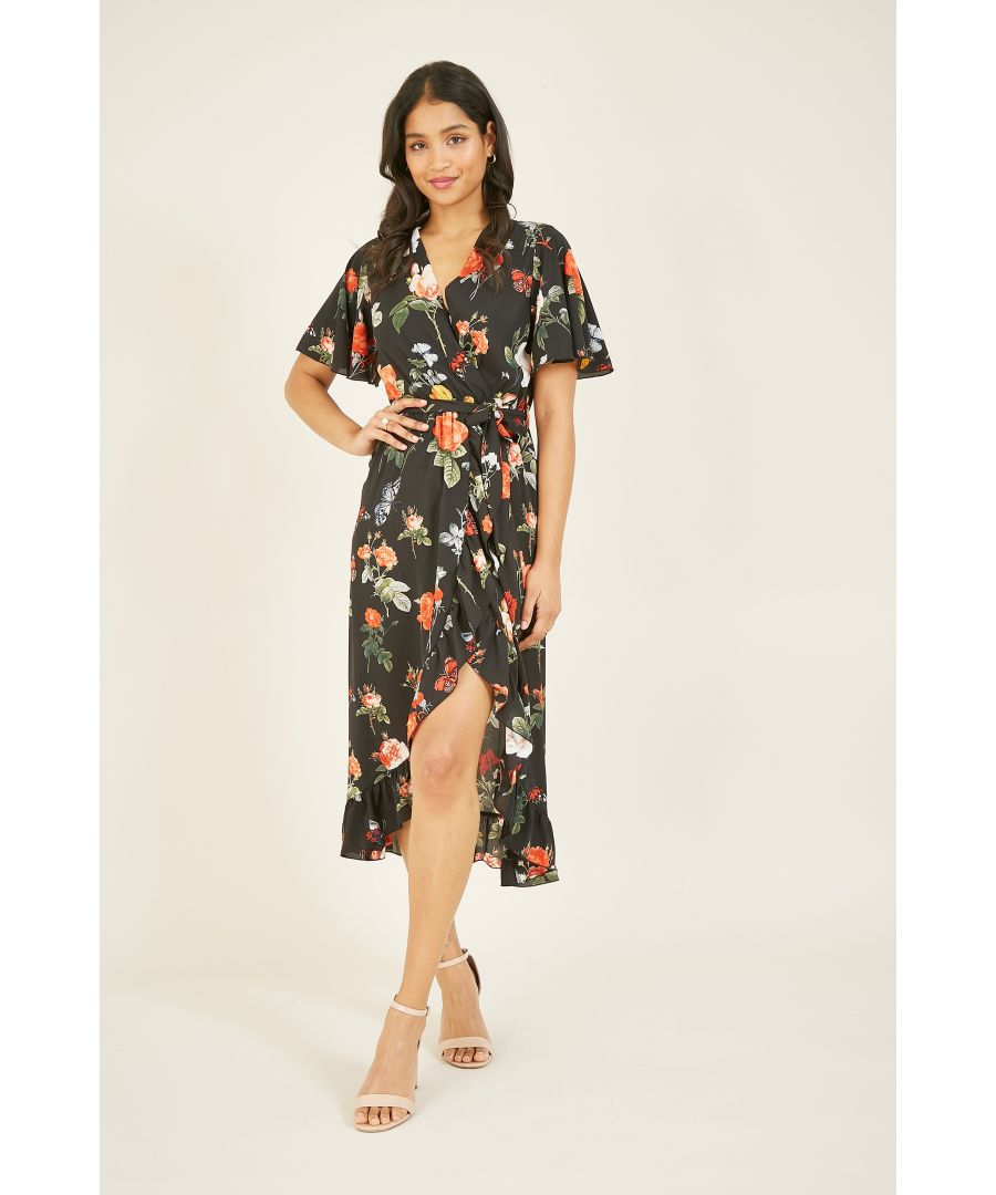 Image for Mela Floral Printed Midi Wrap Dress
