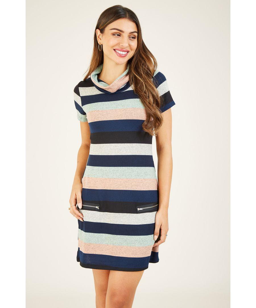 Image for Mela London Stripe Knitted Cowl Neck Zip Dress