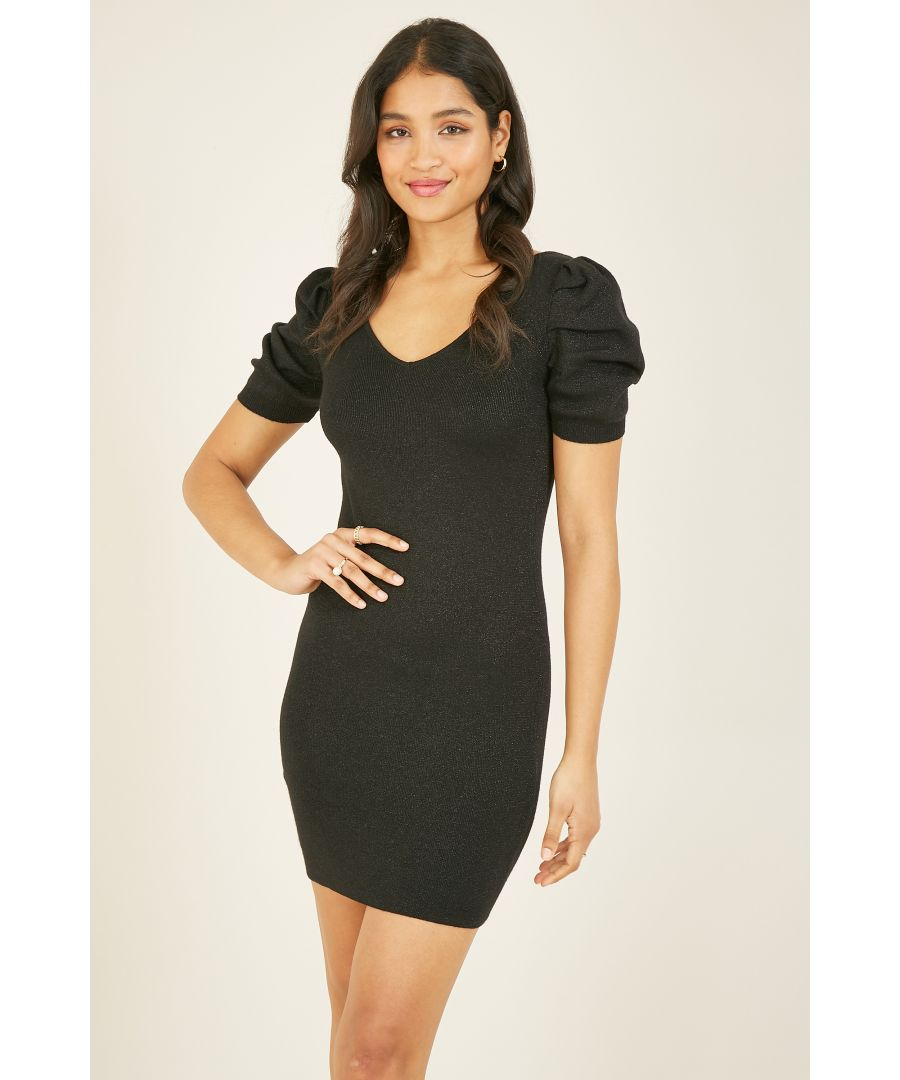 Image for Mela London Puff Sleeves Knitted Bodycon Dress