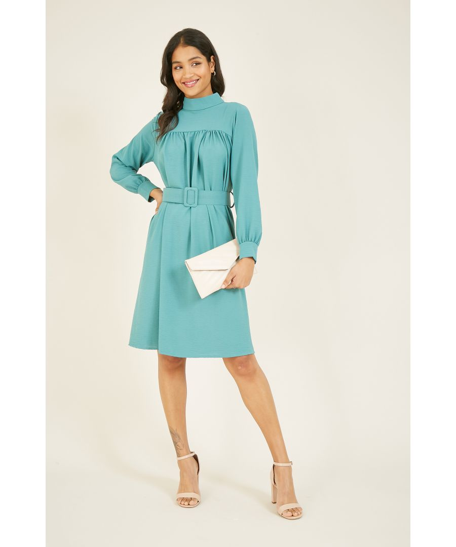 Image for Mela High Neck Belted Tea Dress With Long Sleevees