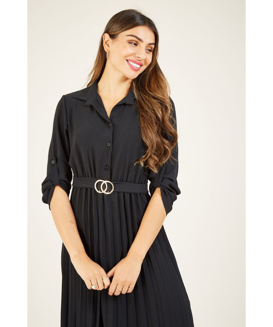 Image for Mela London Pleated Skirt Midi Shirt Dress