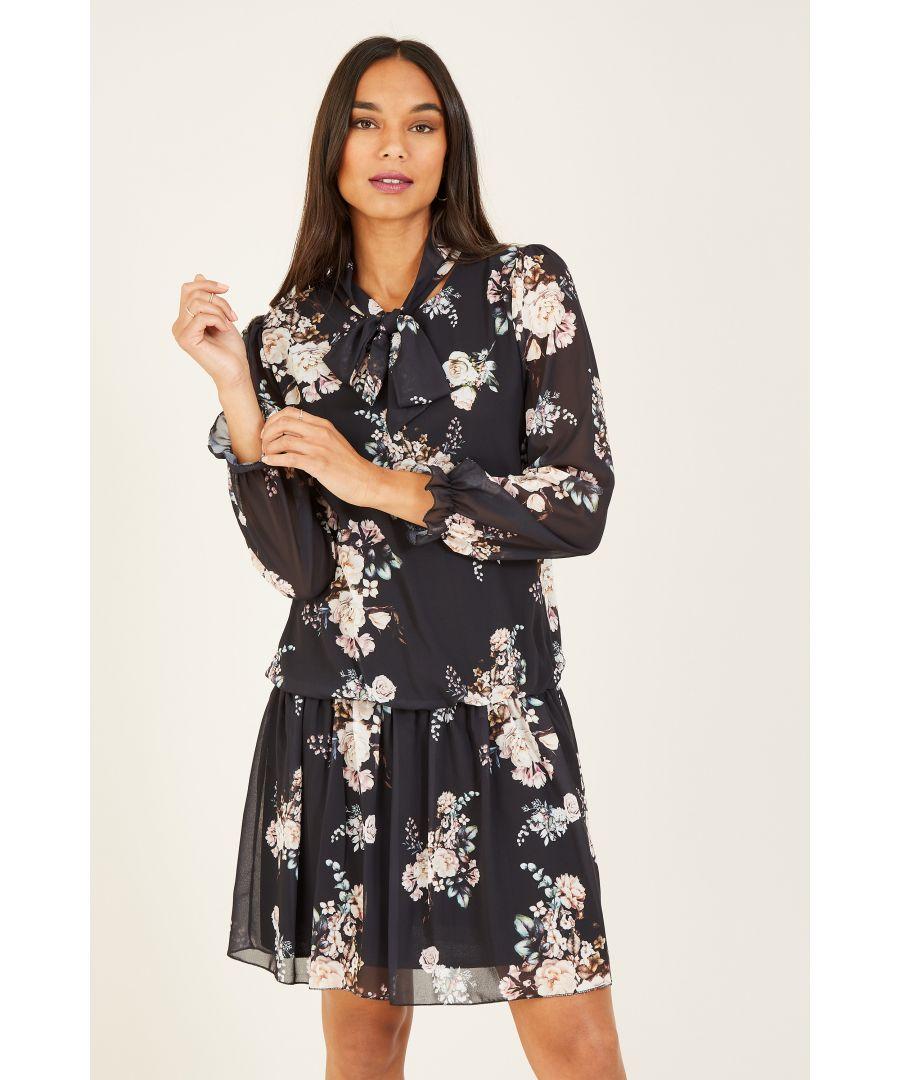 Image for MELA Floral Printed Bow Tie Detail Dress