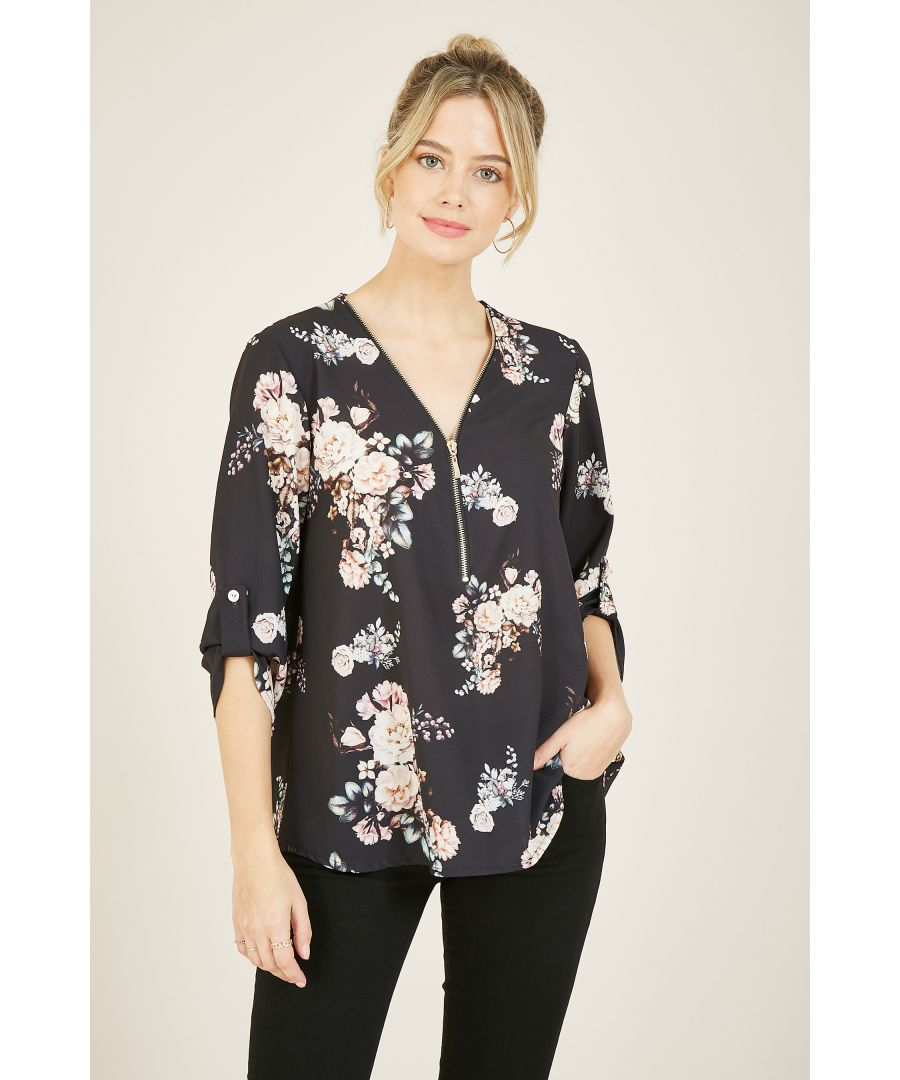 Image for Mela London Floral Printed Zip Detail Blouse