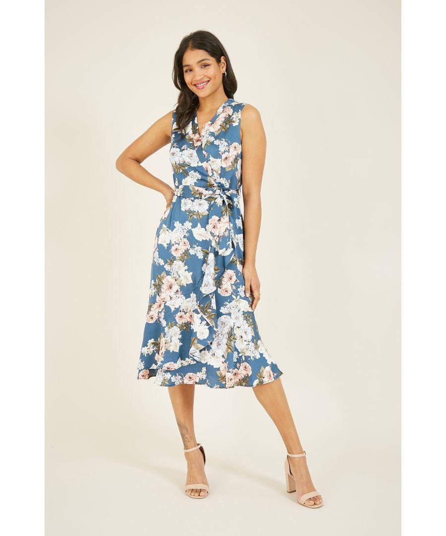 Image for Mela Floral Satin Wrap Effect Midi Dress