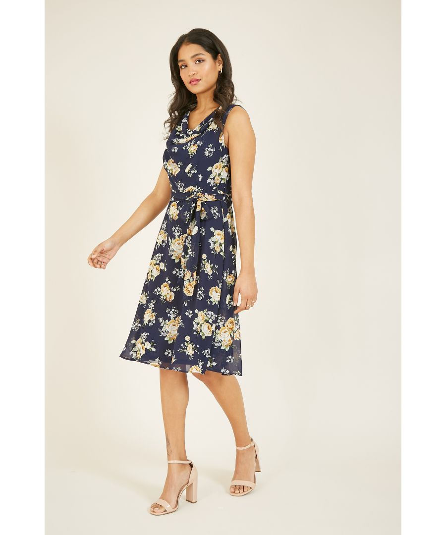Image for MELA Rose Printed Cowl Neck Midi Dress