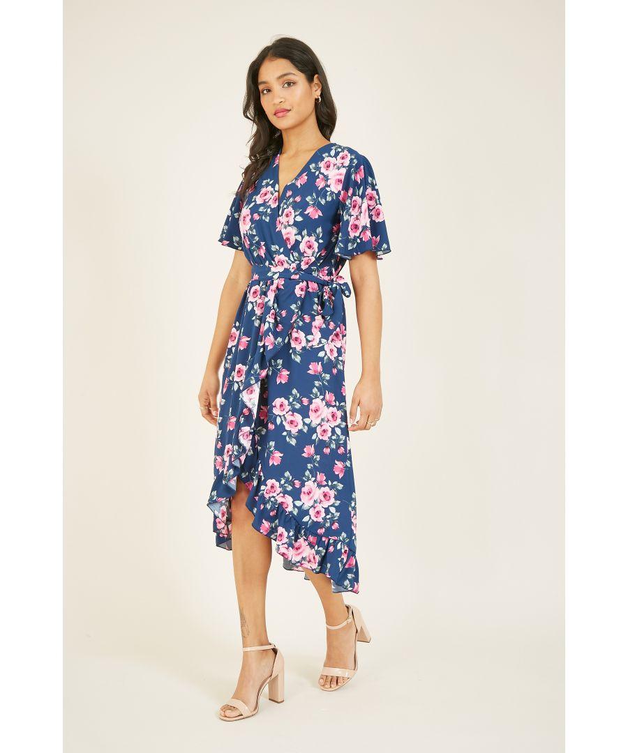 Image for MELA Rose Printed Midi Wrap Dress