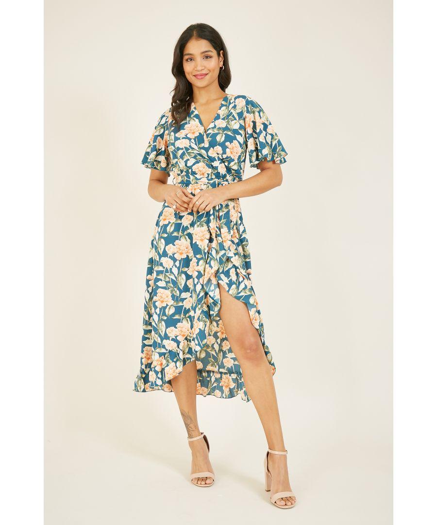 Image for Mela Rose Bouquet Printed Midi Wrap Dress