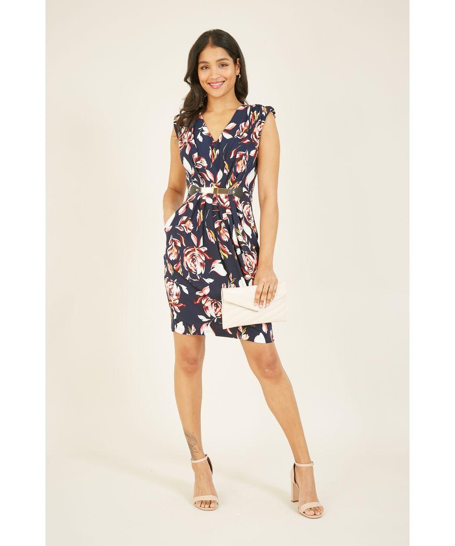 Image for MELA Floral Printed Belted Dress