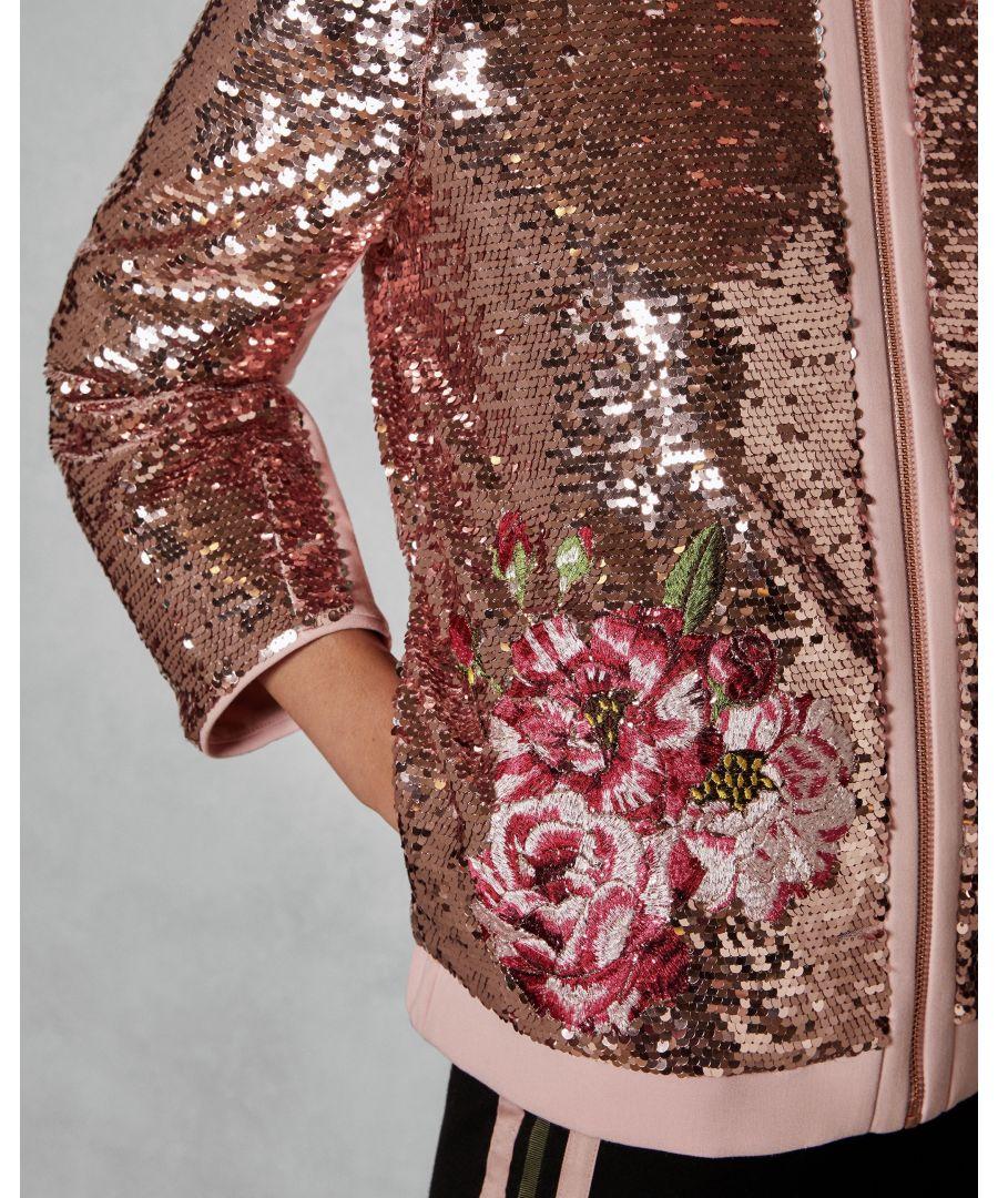 Image for Ted Baker Mordoa Iguazu Sequin Bomber Jacket, Pink