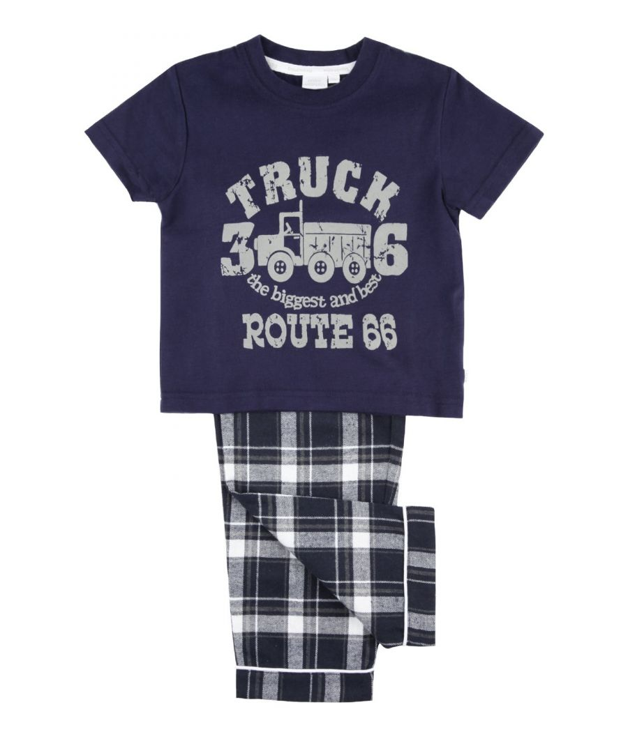 Image for Big Truck Route 66 Boys Navy Pyjamas