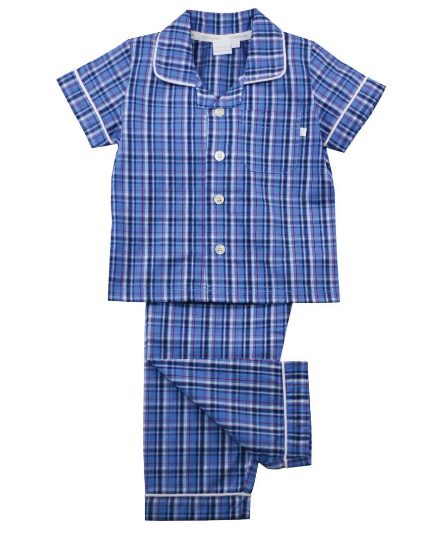 Image for Boys Blue Check Summer Traditional Cotton Pyjamas