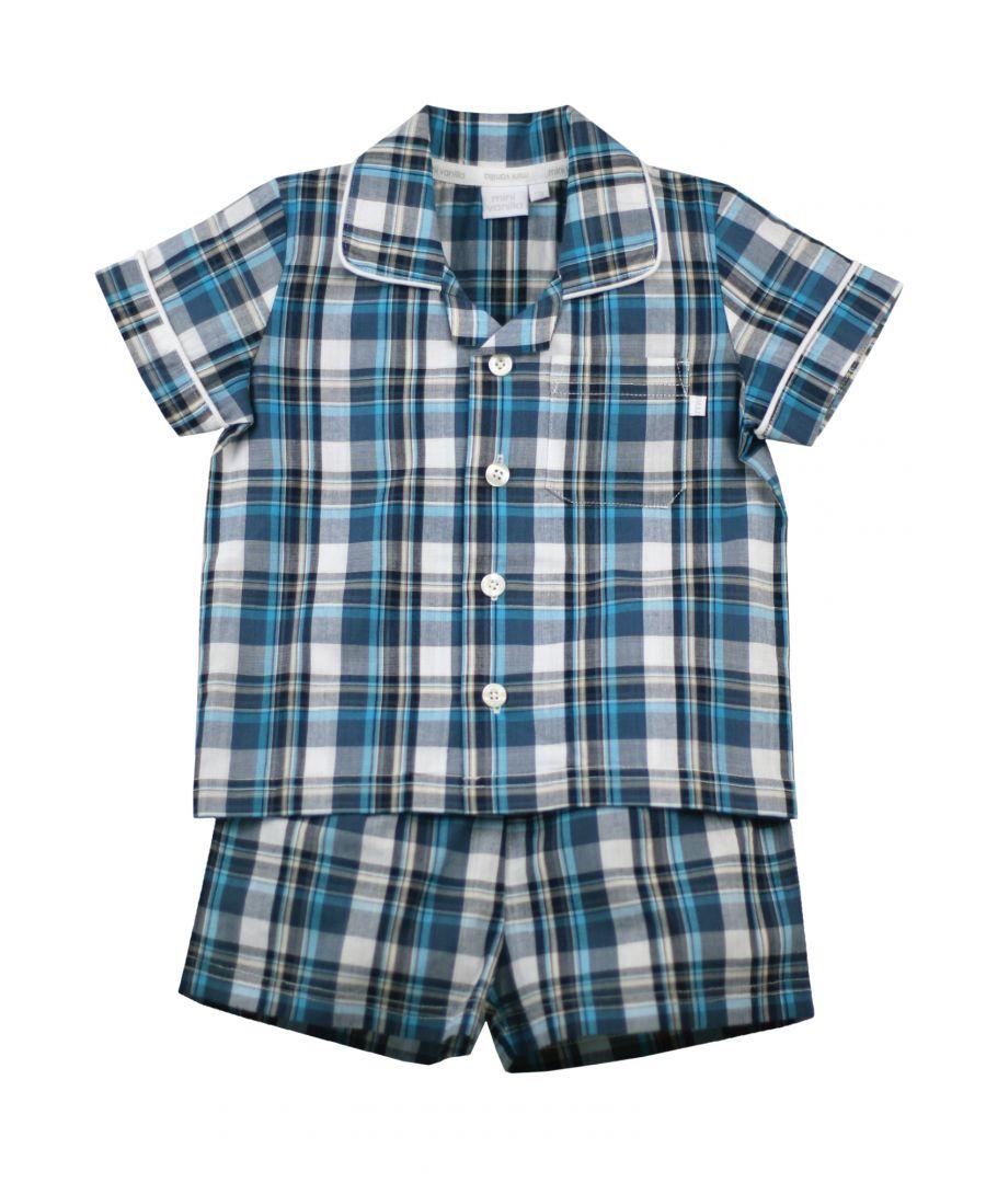 Image for Boys Navy Check Shortie Traditional Cotton Pyjamas