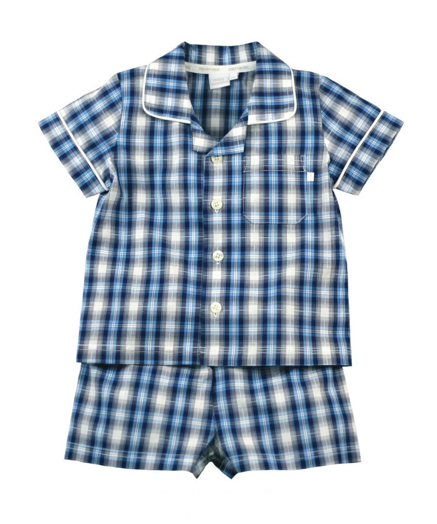 Image for Boys Blue Check Shortie Traditional Cotton Pyjamas