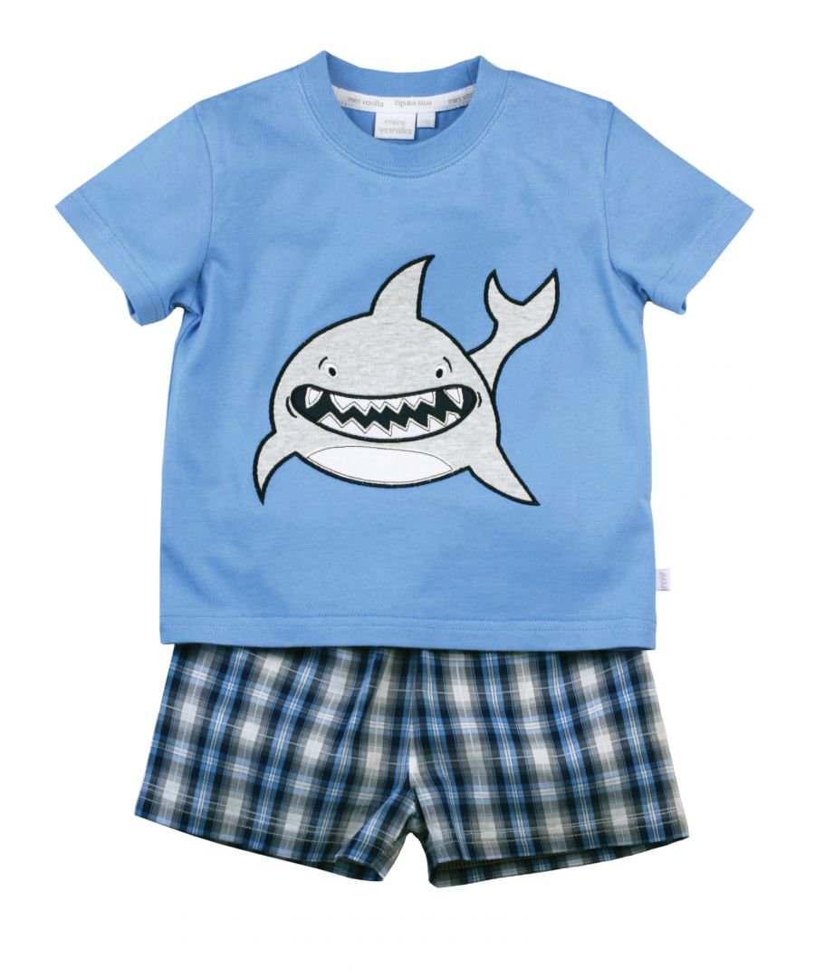Image for Boys Smiley Shark Shortie Cotton Pyjamas