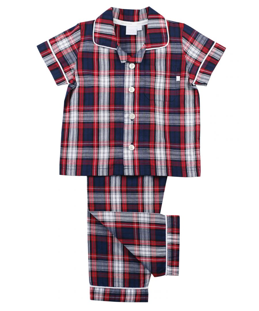 Image for Navy/ Red Check Cotton Traditional PJ's
