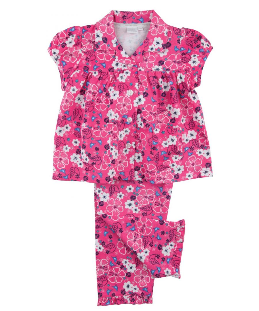 Image for Pretty Pink Floral Jersey Girls Traditional Pyjamas