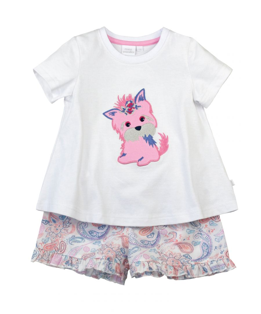 Image for Girls Puppy Shortie Pyjamas