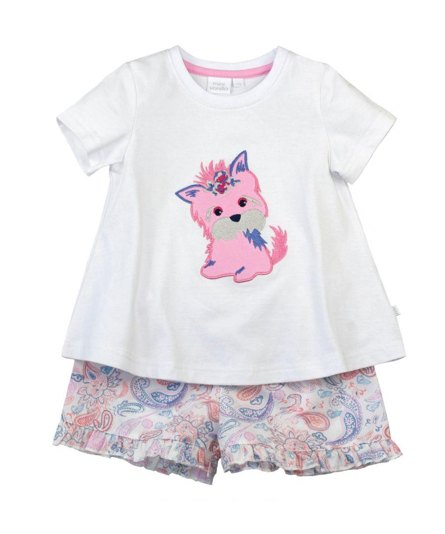 Image for Girls Puppy Shortie Pyjamas