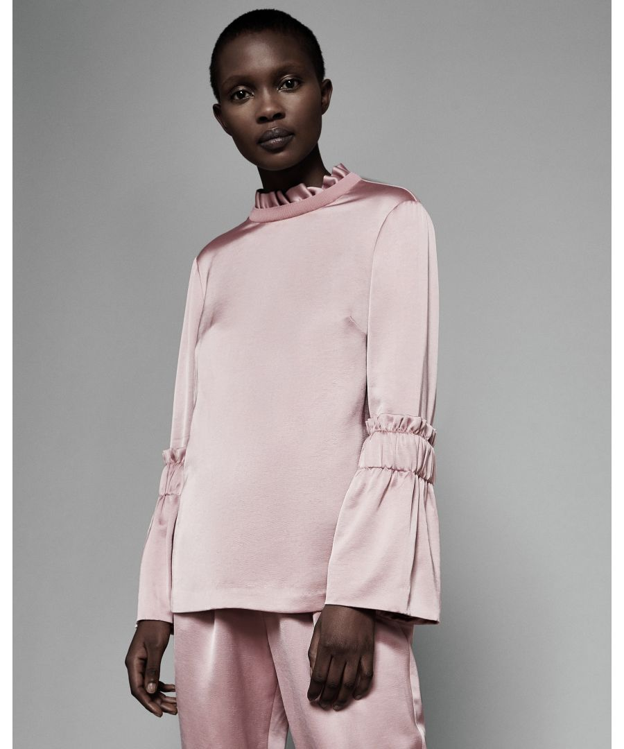 Image for Ted Baker Myani Frilled Sleeve High Neck Top, Dusky Pink