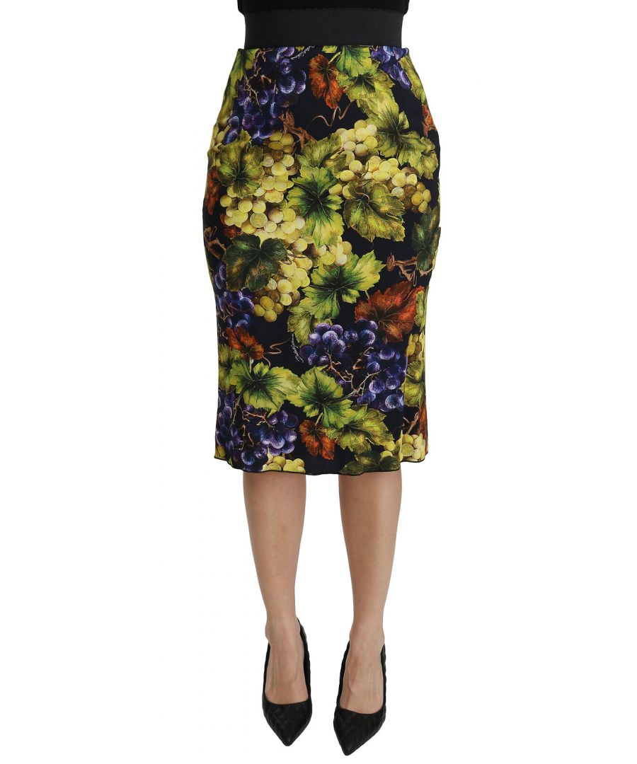 Image for Dolce & Gabbana Multicolor Grapes Stretch Midi Skirt