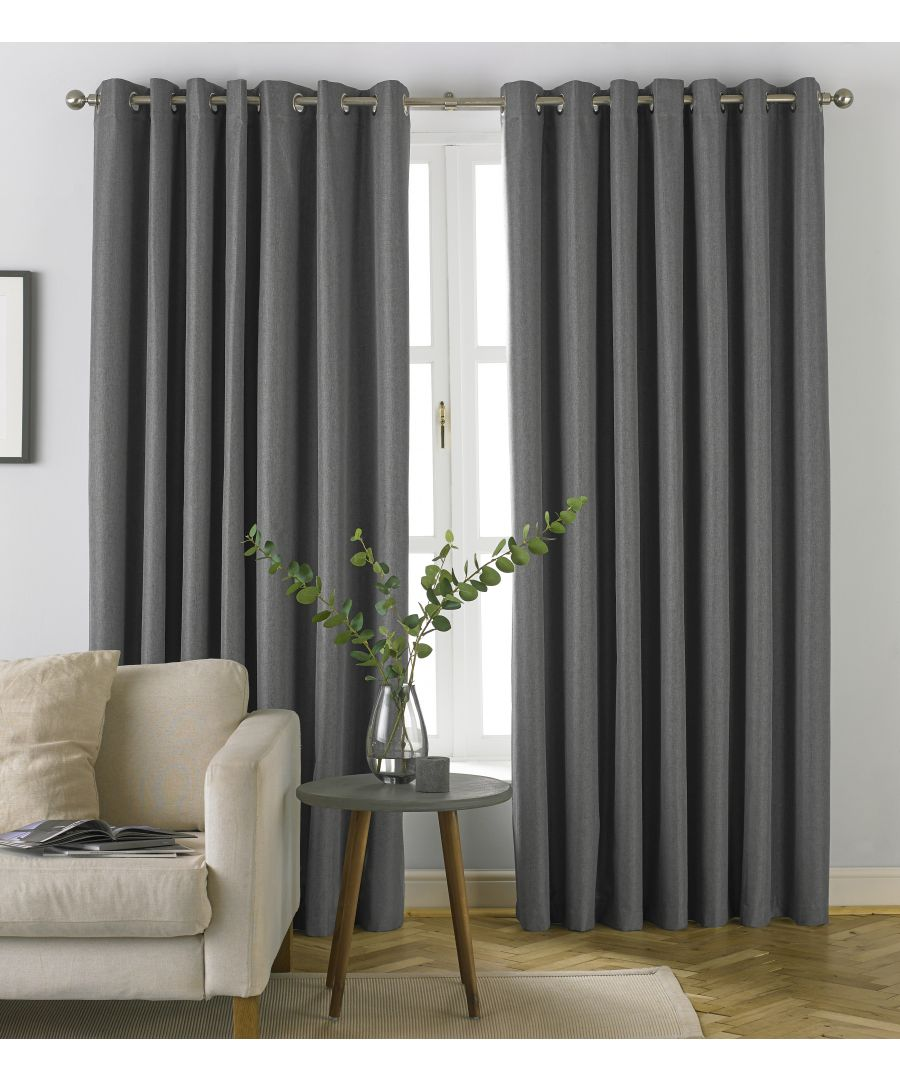 Image for Moon Herringbone Blackout Eyelet Curtains in Grey