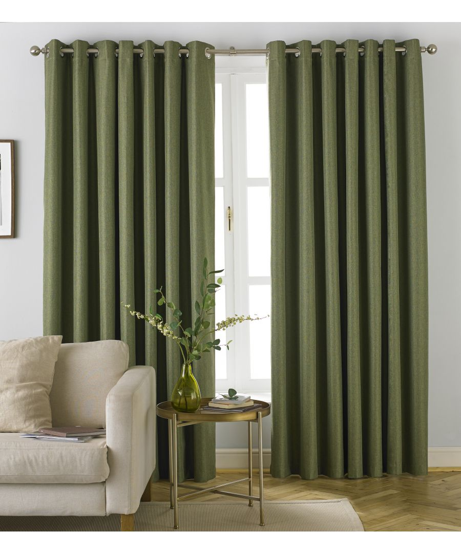 Image for Moon Herringbone Blackout Eyelet Curtains in Khaki