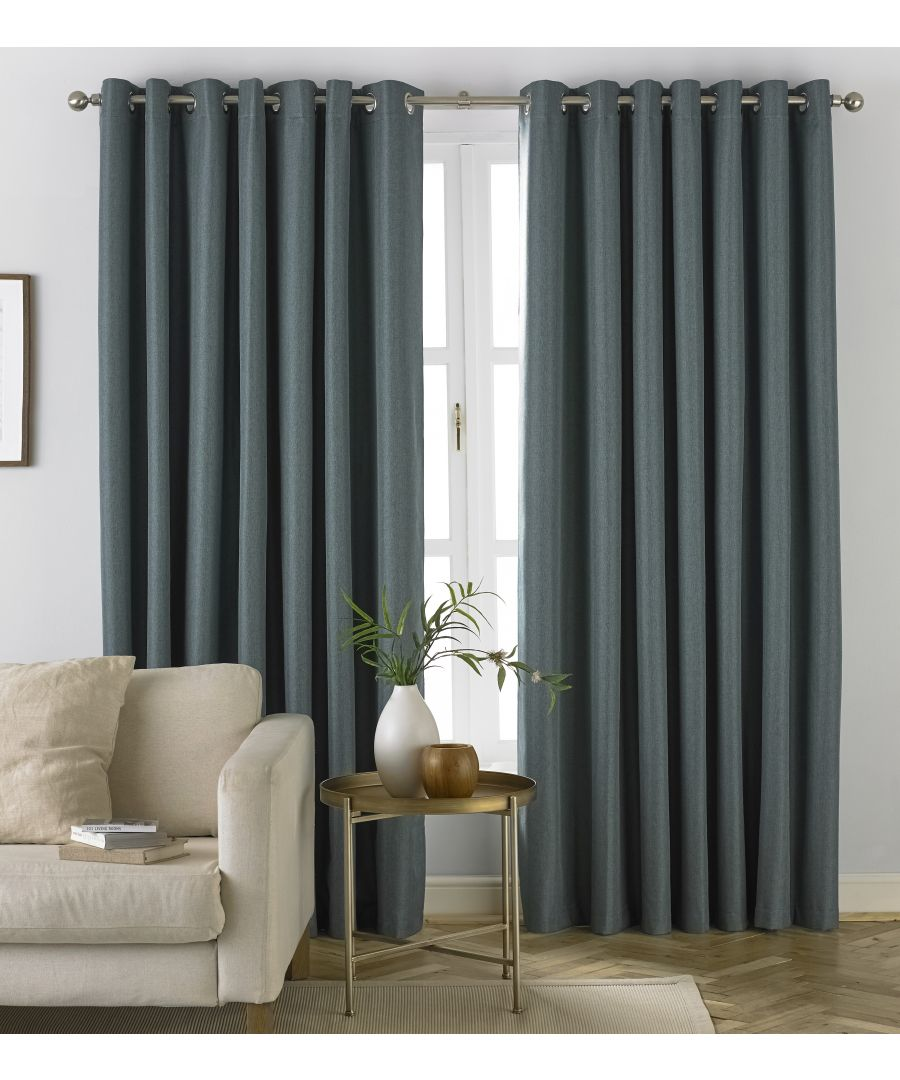 Image for Moon Herringbone Blackout Eyelet Curtains in Mineral