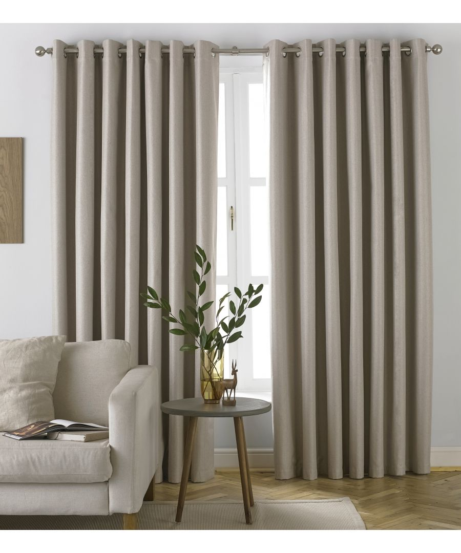 Image for Moon Herringbone Blackout Eyelet Curtains in Natural