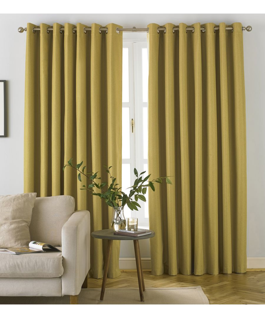 Image for Moon Herringbone Blackout Eyelet Curtains in Ochre