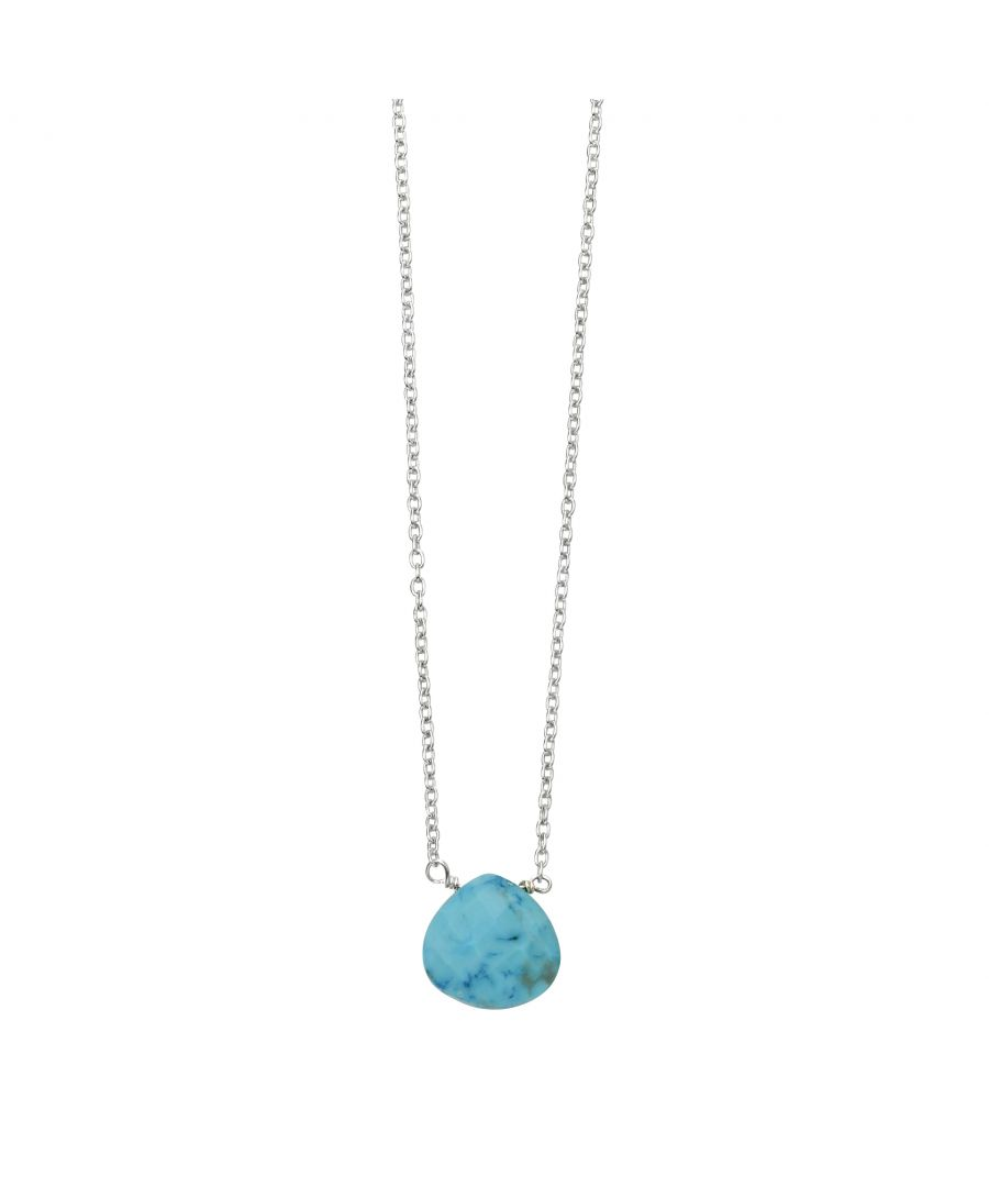 Image for Beginnings 925 Sterling Silver Faceted Semi Precious Blue Magnesite Stone Teardrop Charm Necklace 41-46cm
