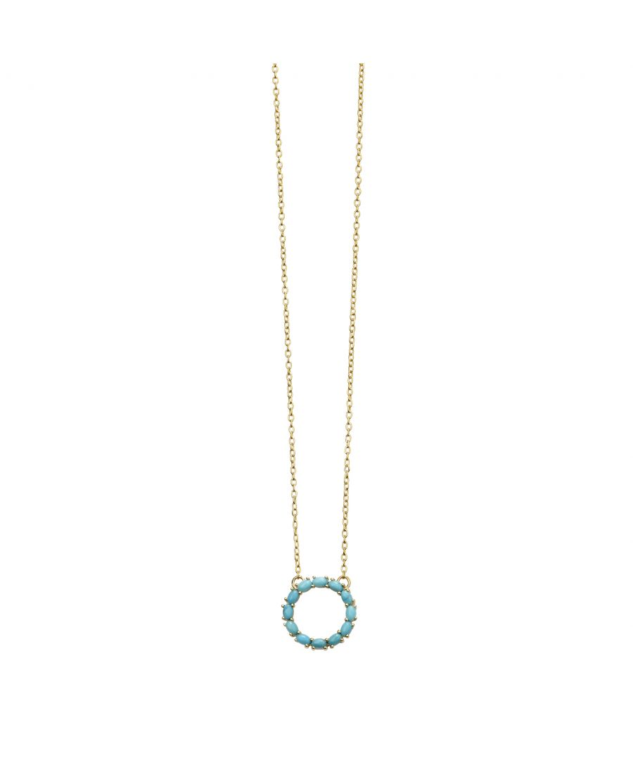 Image for Beginnings Gold Plated 925 Sterling Silver Ladies' Blue Magnesite Open Circle Pendant Necklace of Length 41-46cm