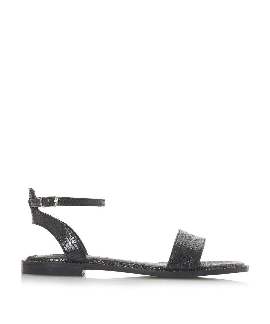 Image for Dune Ladies NANCE Stud Trim Textured Two Part Flat Sandals