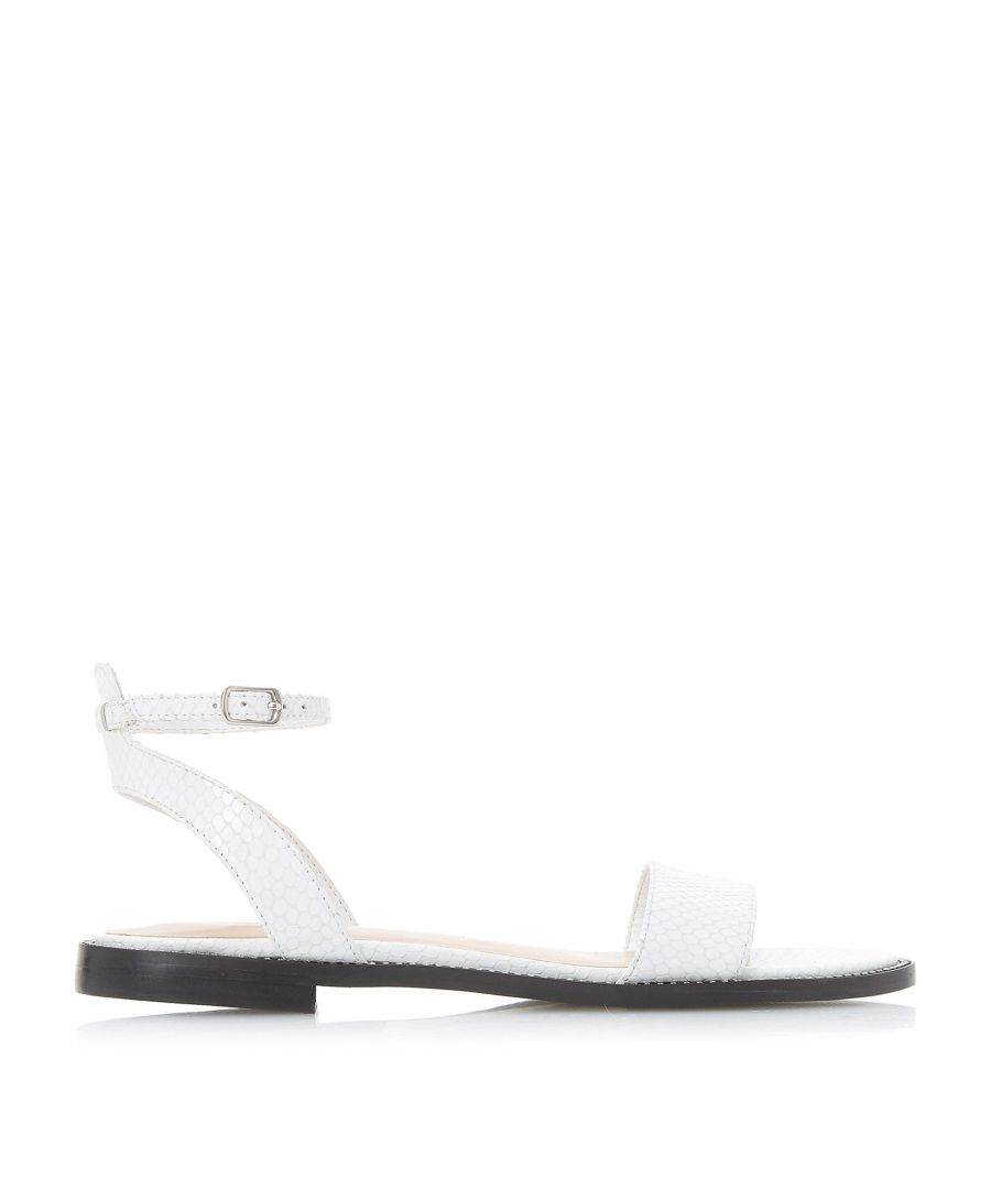 Image for Dune Ladies NANCE Stud Trim Textured Two Part Flat Sandal