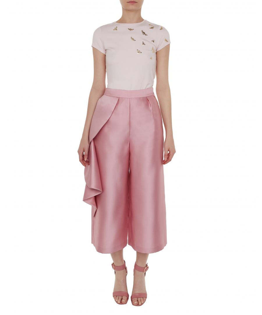 Image for Ted Baker Nannina Wide Leg Ruffle Trousers, Dusky Pink