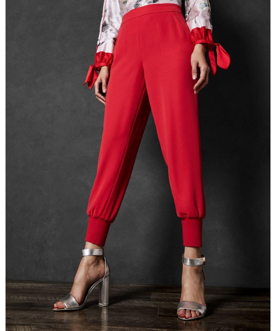 Image for Ted Baker Neena Pleat Hem Crepe Joggers in Bright Red