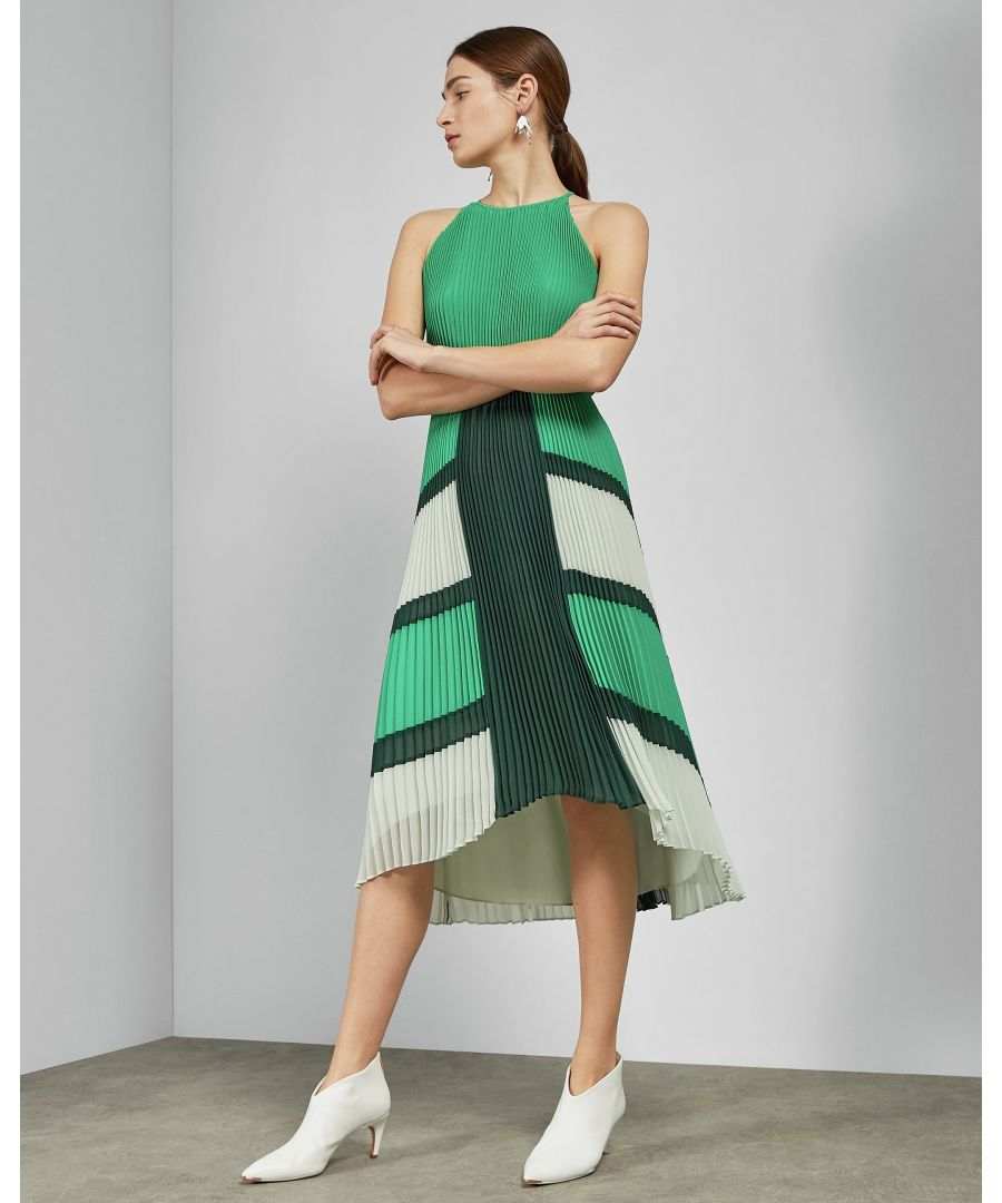 Image for Ted Baker Nellina Ggt Dip Hem Pleated Dress, Bright Green