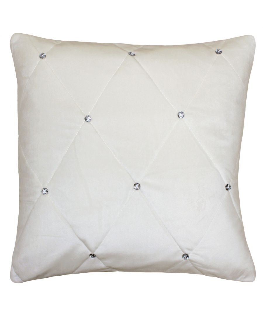 Image for New Diamante Poly Cushion 55X55 Cre