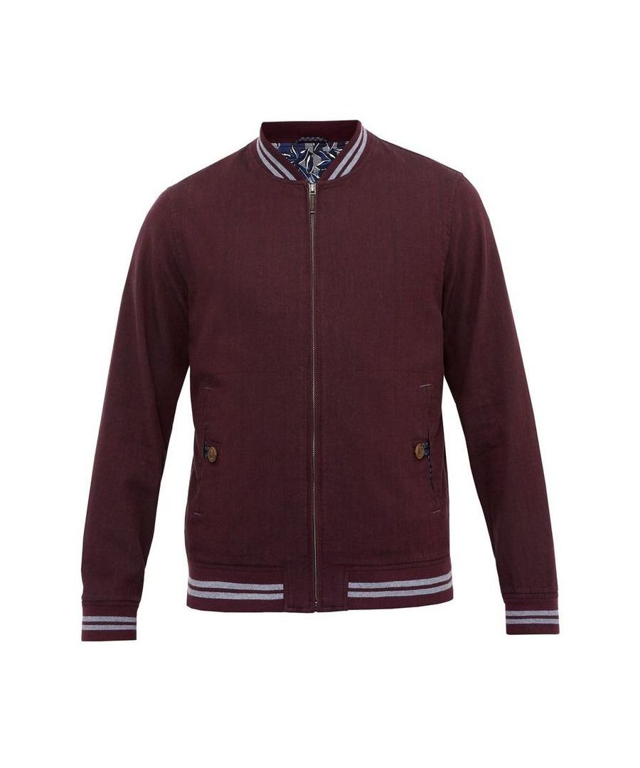Image for Ted Baker Newyork Linenblend Bomber Jacket, Purple