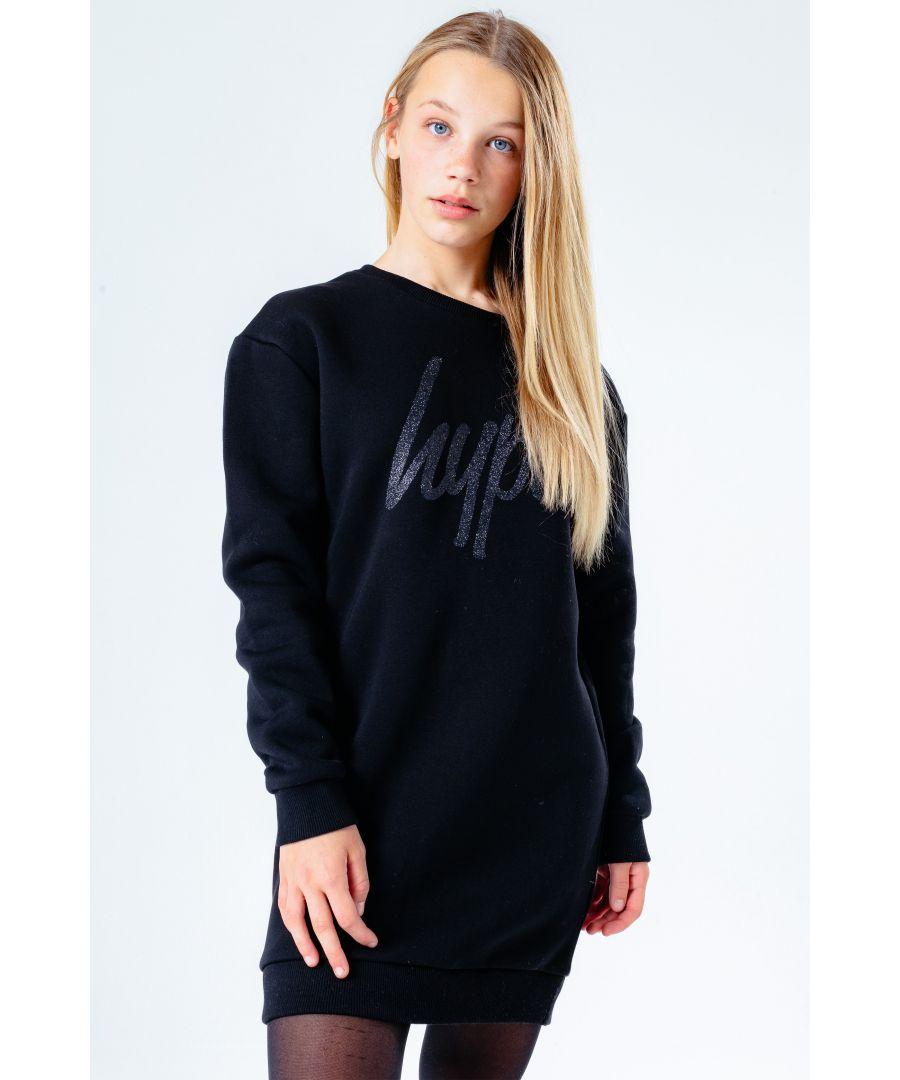 Image for Hype Black Glitter Kids Sweat Dress