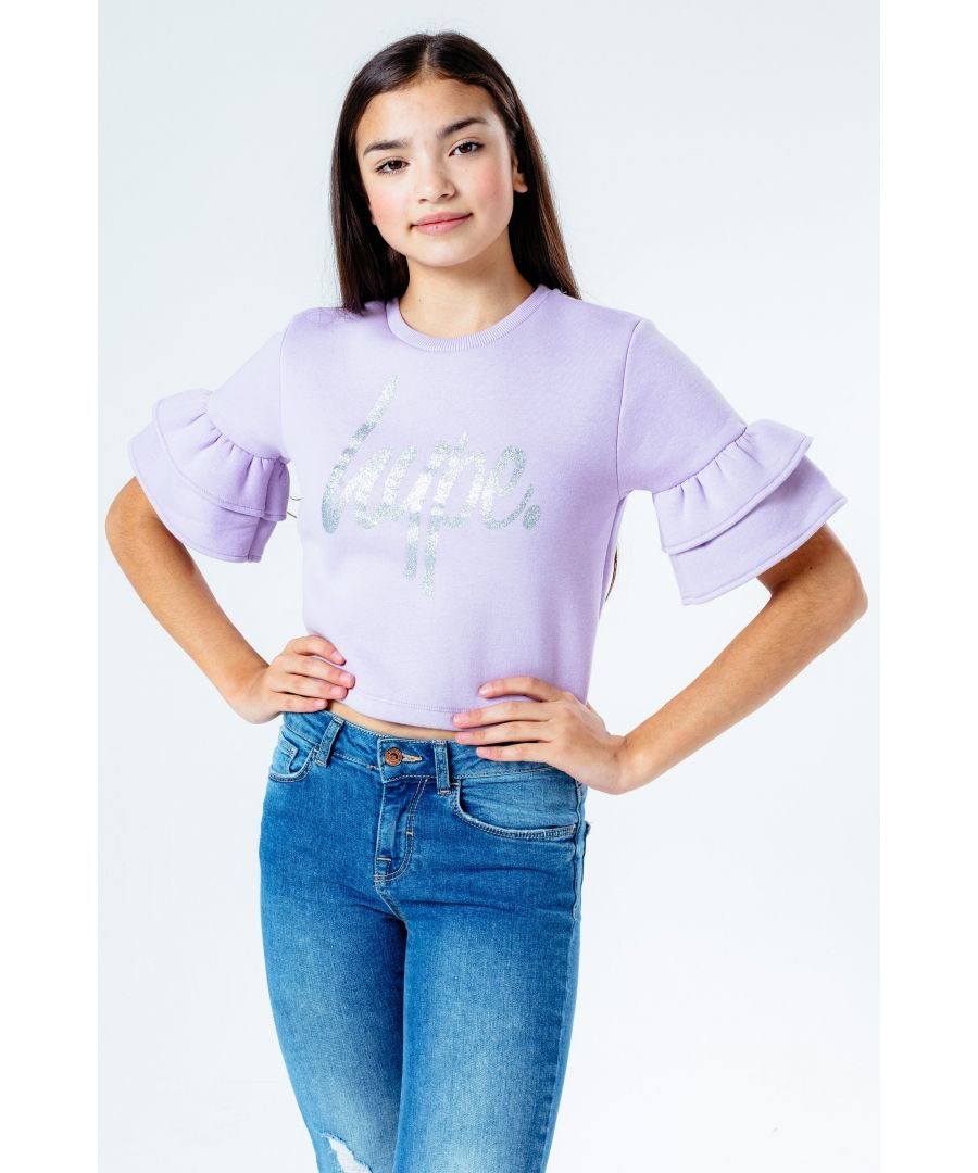 Image for Hype Lilac Glitter Script Frill Kids T-Shirt