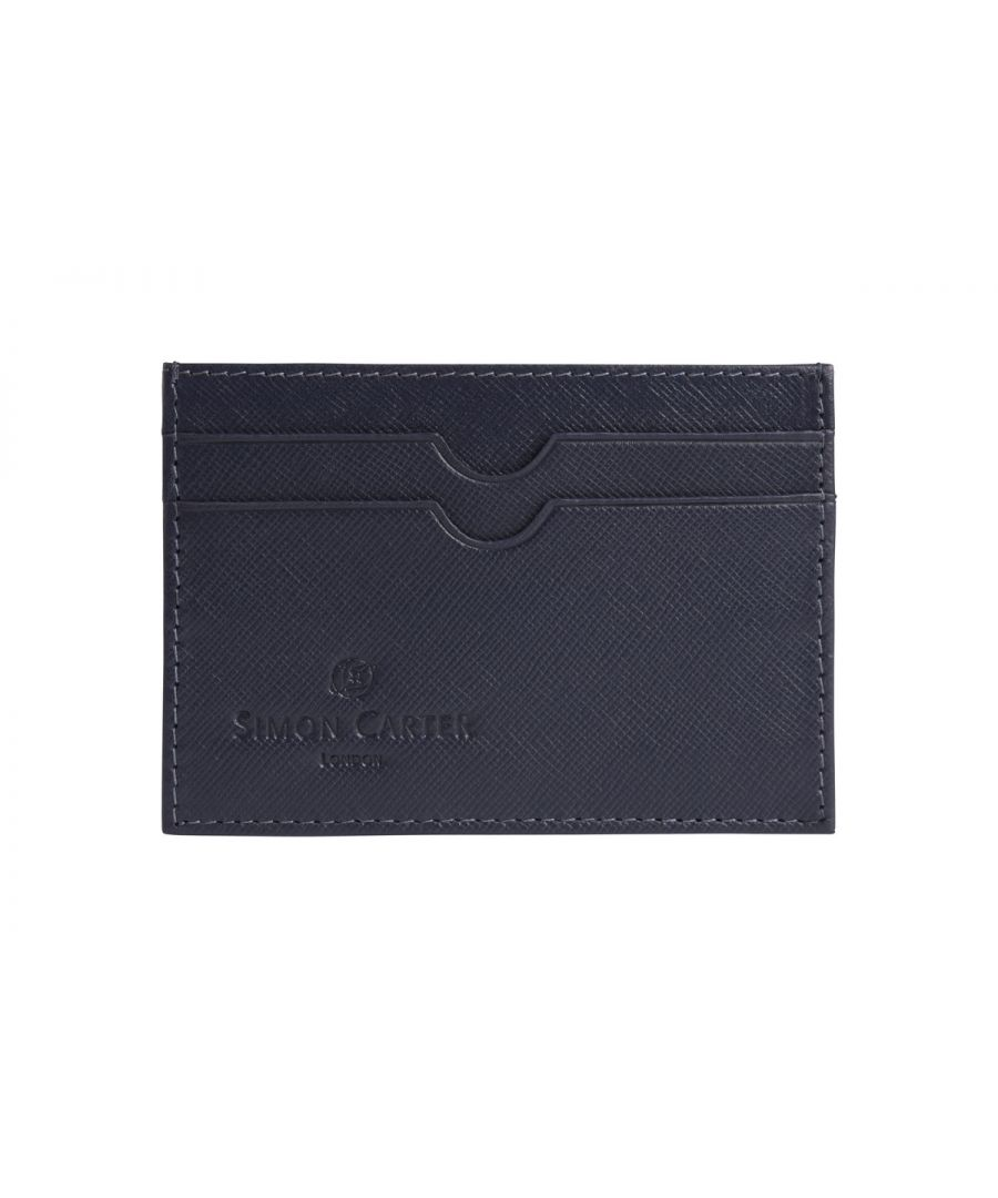 Image for Saffiano Leather Credit Card Holder Navy