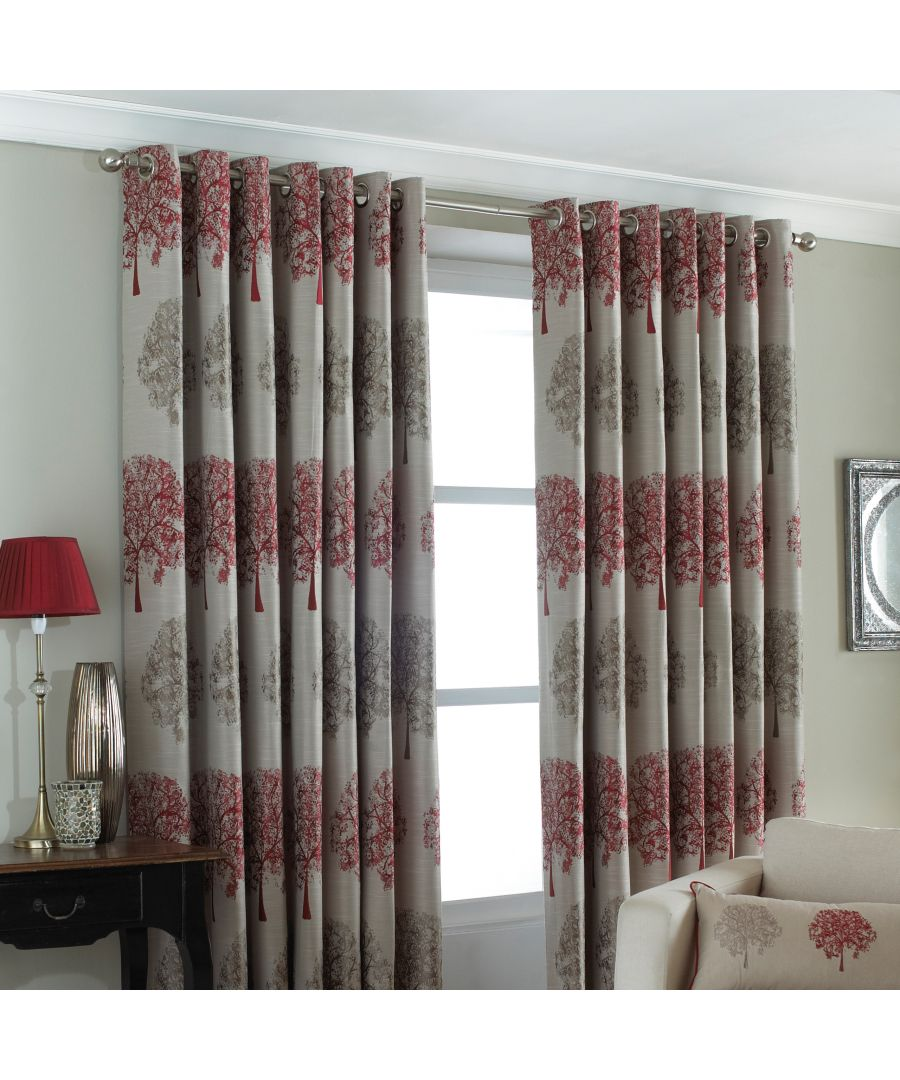 Image for Oakdale Tree Motif Eyelet Curtains in Red