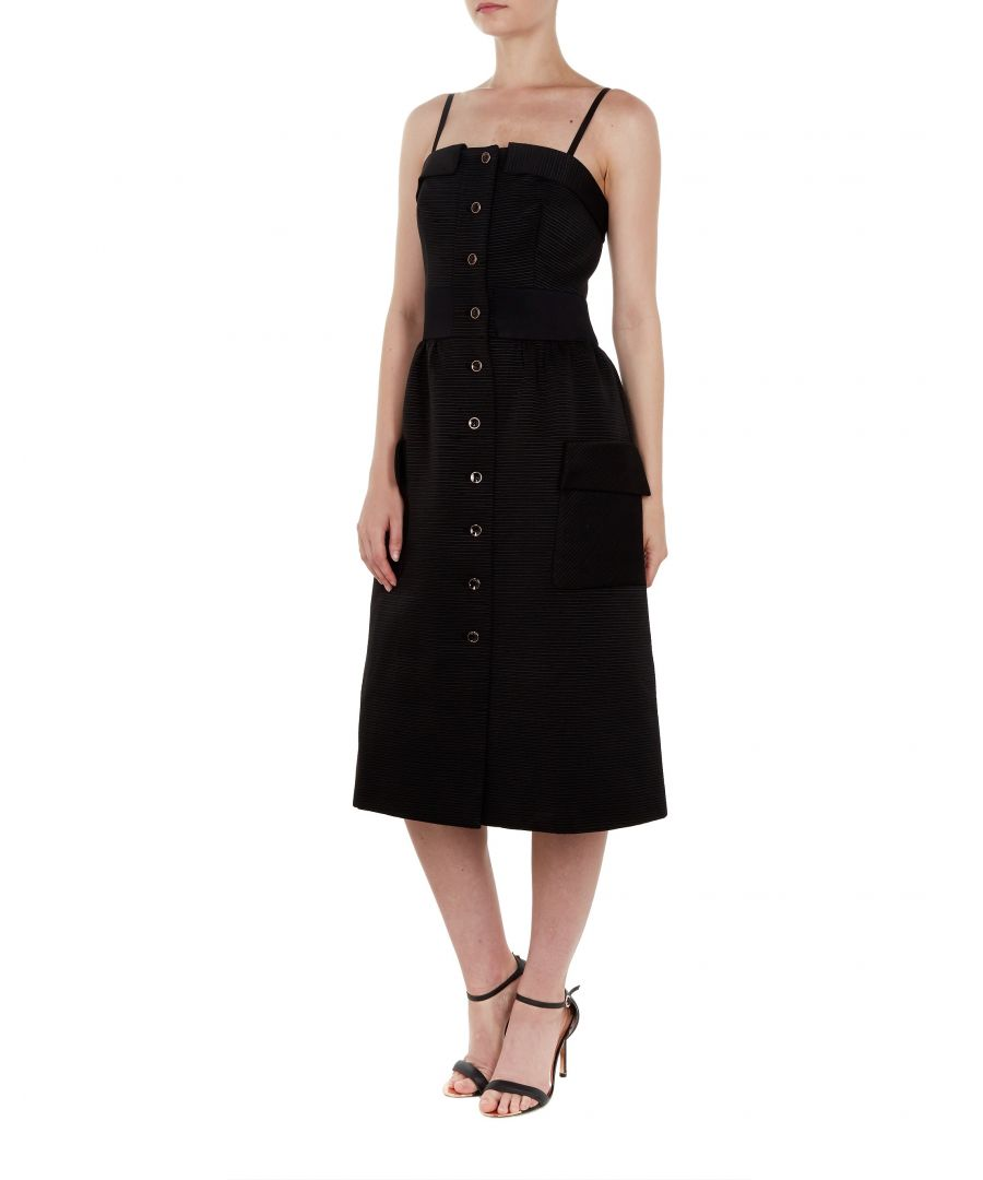 Image for Ted Baker Octovia Cotton Button Dress, Black
