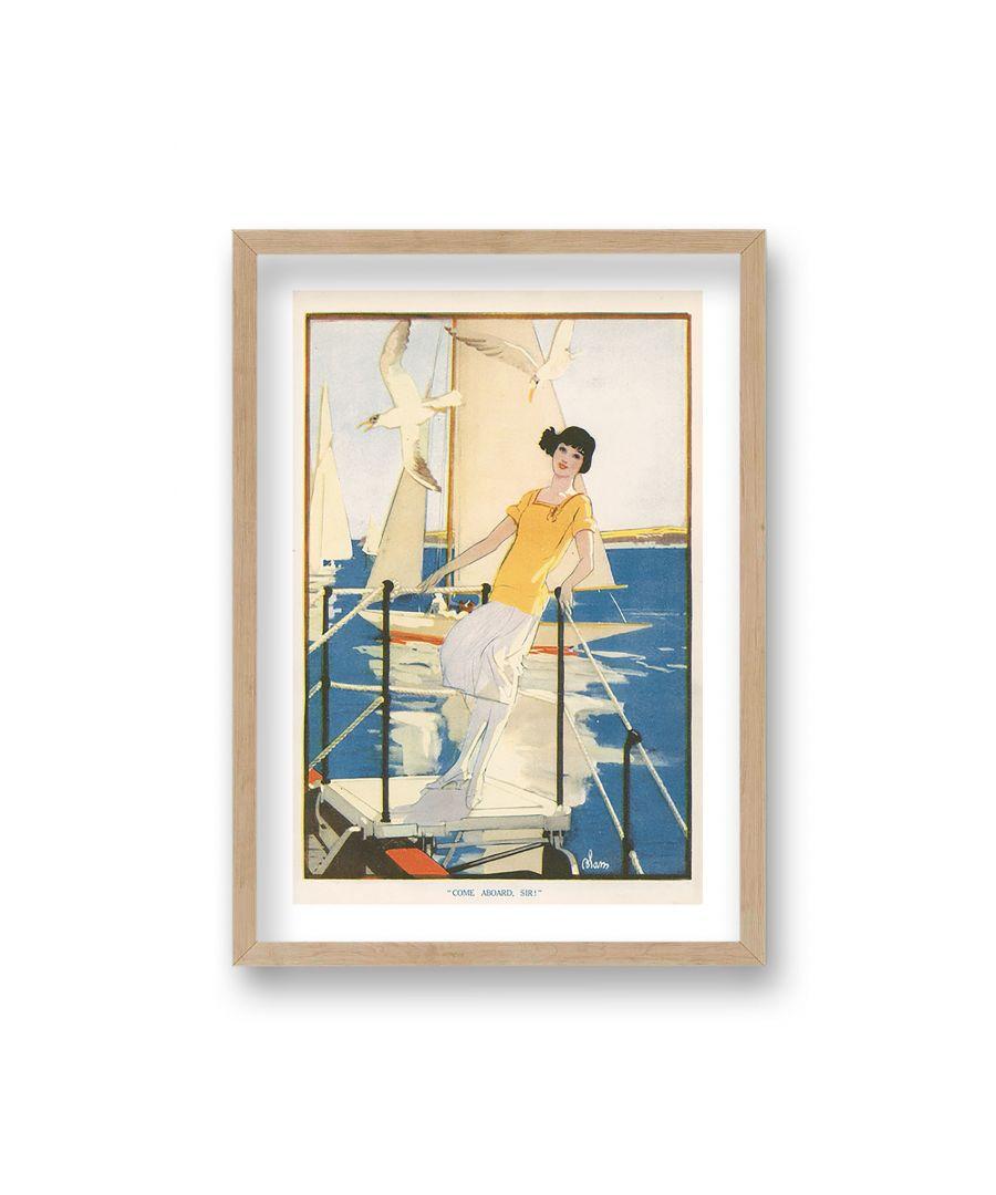Image for Vintage Publication Print Come Aboard Sir - Oak Frame
