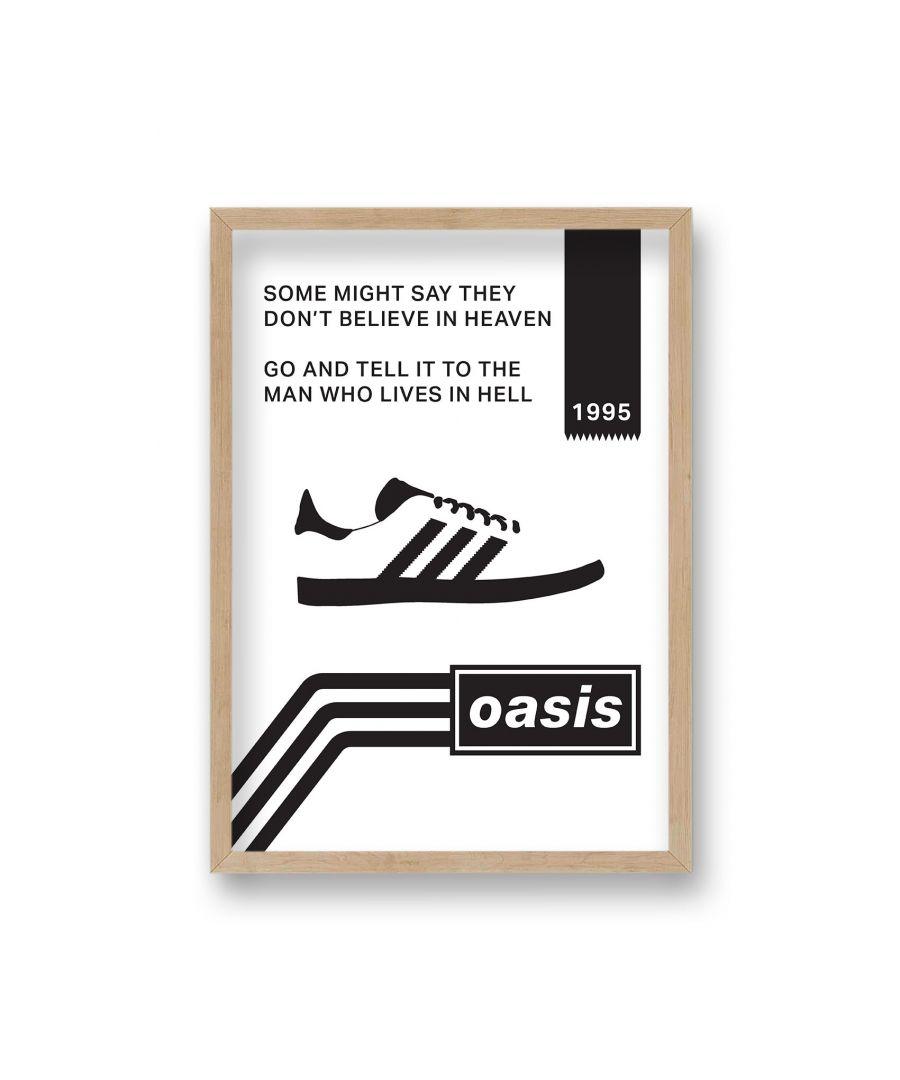 Image for Oasis White & Black Go Let It Out Lyric Print - Oak Frame